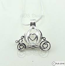Cinderella Carriage Pumpkin Cinderella Carriage Pearl Cage Heart Silver Plated Charm Necklace