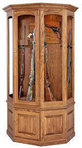 Distressed Corner Cabinet Amish Gun Cabinets Oak Cherry Maple Gun Cabinets