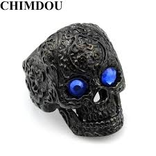 aliexpress buy 2017 new arrival mens ring fashion chimdou flower tattoo blue skull men ring black stainless steel