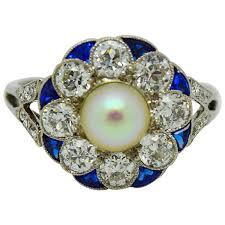 exquisite art deco diamond sapphire pearl ring