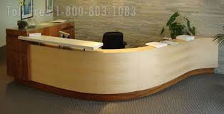 S Shaped Desk Reception Station Desk Lobby Furniture Oak Walnut Maple Cherry