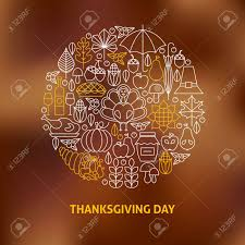 thin line thanksgiving day icons set circle shaped concept