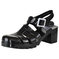 Closed Toe Sandals With Heel Closed Toe Ankle Strap Platform Chunky Heel Jelly Sandals Black Ebay