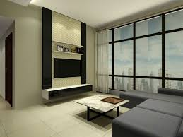 Wall Mounted Living Room Furniture Modern Glass Wall With Black L Shaped Sectional Sofa And