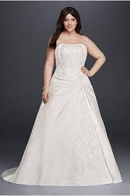 plus size strapless wedding dress with brooch david u0027s bridal