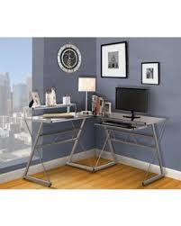 Glass Desk With Storage Hello Holidays 57 Off Silver Metal U0026 Glass Top L Shaped Home