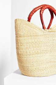 wicker basket with leather handles urban renewal vintage leather handle straw tote bag in natural lyst