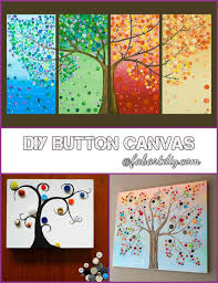 diy button tree on canvas wall
