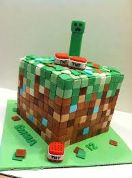 minecraft themed birthday cake 3 layer white cake with chocolate