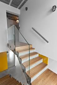Wood Glass Stairs Design Interior Scandinavian Staircase With Silver Alumunium Baluster