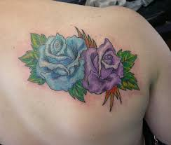 blue and violet roses tattoo on shoulder tattoos re