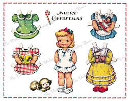 vintage christmas paper christmas paper doll instant printable digital