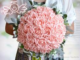 silk wedding bouquets pe white pink artificial silk wedding bouquets for