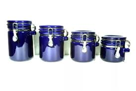oggi kitchen canisters oggi ez grip 4 set blue ceramic airtight canister jars h