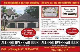 Pro Overhead Door All Pro Overhead Door 4840 Cypress Ave Carmichael Ca 95608 Yp