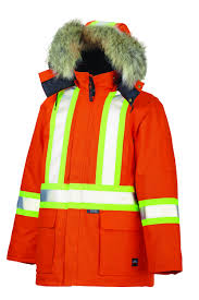 hi vis winter cycling jacket tough duck down fill insulated hi vis safety canvas parka s5637