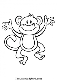 cute monkey clip art black and white monkey coloring pages monkey