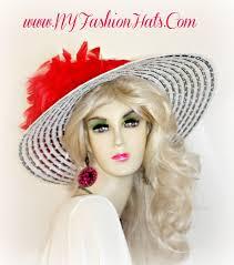 black and white kentucky derby wide brim designer hat ladies hats vr4