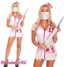 ladies halloween zombie bloody nurse costume fancy dress party