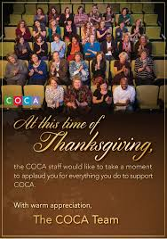 we are thankful for your support coca center of creative arts