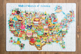 usa map jigsaw puzzle usa map illustration jigsaw puzzles 120pieces liv wan illustration