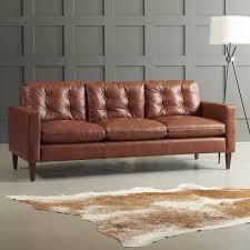 tan brown leather sofa dwellstudio leather sofa reviews wayfair