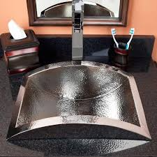 Bathroom Vanity With Copper Sink Gorgo Hammered Semi Recessed Copper Sink Polished Nickel Bathroom