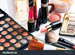 professional makeup set eyeshadow palette lipstick stock photo