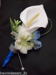 royal blue boutonniere royal blue white calla silk flower wedding prom boutonniere