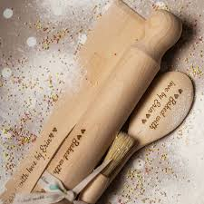 Personalized Wooden Gifts Personalised Baking Set With Optional Apron By Rocket And Fox