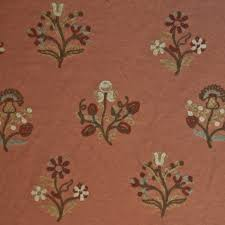 embroidered home decor fabric or127 floral crewel embroidered cinnamon by the yard drapery home
