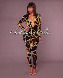 black and gold jumpsuit markay black gold chain print plunging v neck jumpsuit