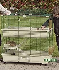 Rabbit And Guinea Pig Hutches Heritage Cages Beige Double Deck Decker Rabbit Cage 1m Indoor