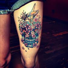 sugar skulls tattoos for girls skull thigh tattoos crazy body