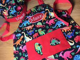kids personalised dinosaur apron handmade apron