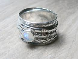 worry ring rainbow moonstone ring sterling silver rings for women