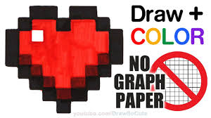 draw color minecraft heart easy graph paper step