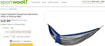 yukon outfitters parachute hammock no net for 24 99 shipped