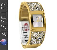 bracelet watches guess images Guess ladies gold bejeweled crystals watch bracelet adjustable jpg