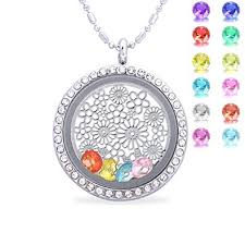 mothers day birthstone necklace flower birthstone necklace floating charm