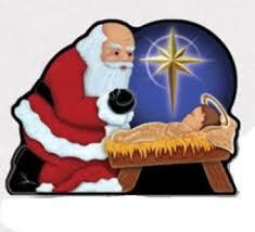 santa kneeling at the manger santa kneeling to jesus and praying by bowing nativity ornament