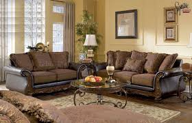Fabric Leather Sofa Fantastic Leather Sofa And Loveseat Set Walnut Fabric And Faux
