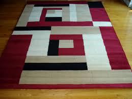 Red White And Black Rug Modern Red Beige White Black Design 5x8 Area Rug Carpet New