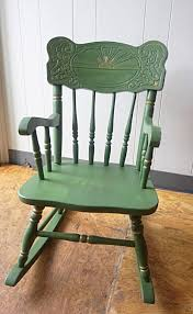 Nicaraguan Rocking Chairs Rocking Chair Vintage Child Rocker Green Solid Wood Rocking Chair