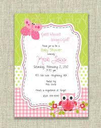 baby shower invitation owl butterfly pink green birthday
