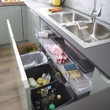 rangement sous evier cuisine rangement coulissant sous évier 4 poubelles pour meuble l 100 cm