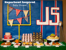 football baby shower inspired football themed baby shower snacks corner cake natchos