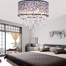 Modern Ceiling Light Fixture by Dinggu Luxury Drum 4 Lights Flush Mounted Crystal Ceiling Lamp