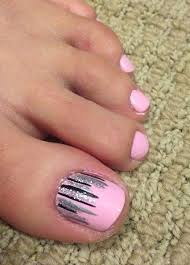 easy nail art for toes pretty pink toe nails with easy nail art on the big toe nails