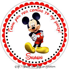 mickey mouse personalized stickers favor tags thank you